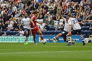 George Friend during the Sky Bet Championship match between Preston North End and Middlesbrough at Deepdale, Preston, England on 9 August 2015. Photo by Simon Davies.