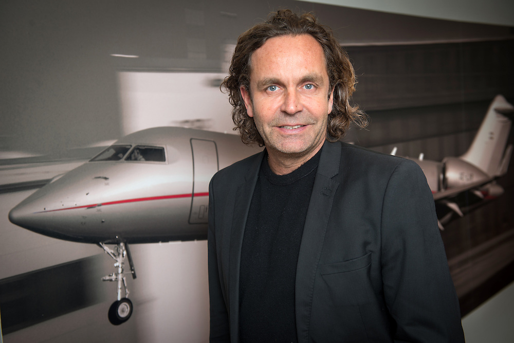 Thomas Flohr, owner of VistaJet, an executive private jet leasing company, photographed in his office in Mayfair, London, England.