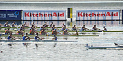 Varese,  ITALY. 2012 FISA European Championships, Lake Varese Regatta Course. ..Lane 2 - Second down from top. GBR M8+. Bow Mason DURRANT, Peter ROBINSON, Thomas CLARK, Lance TREDWELL, Oliver COOK, Fred GILL, Scott DURANT and Cox Henry FIELDMAN. Approach the finish line  and qualify for Sundays  Men's Final..13:23:13  Saturday  15/09/2012 .....[Mandatory Credit Peter Spurrier:  Intersport Images]  ..2012 European Rowing Championships Rowing, European,  2012 010856.jpg.....