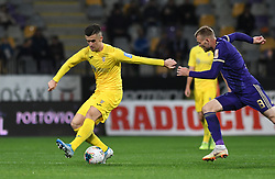 Arnel Jakupovic of Domzale and Alexandru Cretu during football match between NK Maribor and NK Domzale in 17th Round of Prva liga Telekom Slovenije 2019/20, on November 9, 2019 in Ljudski vrt, Maribor, Slovenia. Photo by Milos Vujinovic / Sportida