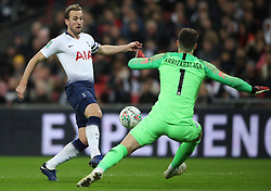 Tottenham Hotspur's Harry Kane prior to being fouled by Chelsea goalkeeper Kepa Arrizabalaga to earn a penalty during the Carabao Cup, semi final match at Wembley, London.