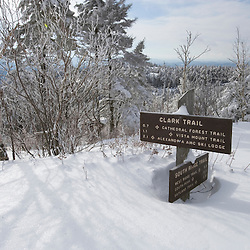 A trail sign in winter in Mount Cardigan in Canaan, NH. A trail sign in winter in Mount Cardigan in Canaan, NH.