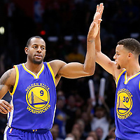 19 November 2015: Golden State Warriors guard Andre Iguodala (9) is congratulated by Golden State Warriors guard Stephen Curry (30) during the Golden State Warriors 124-117 victory over the Los Angeles Clippers, at the Staples Center, Los Angeles, California, USA.