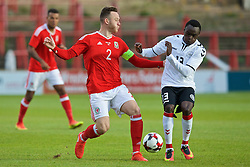 WREXHAM, WALES - Friday, September 2, 2016: Wales' captain Gethin Jones in action against Denmark's Pione Sisto during the UEFA Under-21 Championship Qualifying Group 5 match at the Racecourse Ground. (Pic by Paul Greenwood/Propaganda)