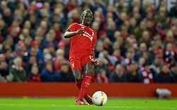 LIVERPOOL, ENGLAND - Thursday, March 10, 2016: Liverpool's Mamadou Sakho in action against Manchester United during the UEFA Europa League Round of 16 1st Leg match at Anfield. (Pic by David Rawcliffe/Propaganda)