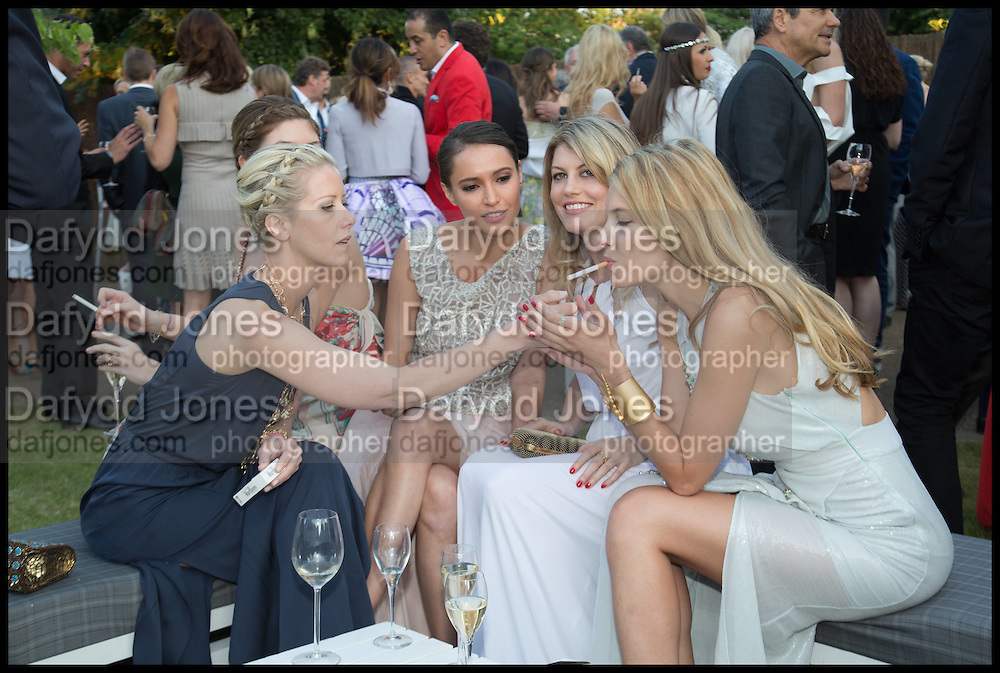 ELIZABETH ESTEVE; ANASTASIA LENGLET; SASHA VOLKOVA; MEREDITH OSTROM; SARA BRAJOVIC, 2014 Serpentine's summer party sponsored by Brioni.with a pavilion designed this year by Chilean architect Smiljan Radic  Kensington Gdns. London. 1July 2014