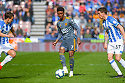 Demarai Gray of Leicester City (7) passes the ball during the Premier League match between Huddersfield Town and Leicester City at the John Smiths Stadium, Huddersfield, England on 6 April 2019.