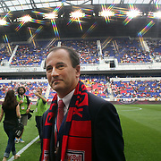 Jerome de Bontin, The new general manager of the New York Red Bulls on the playing field before the New York Red Bulls V Chicago Fire Major League Soccer regular season match at Red Bull Arena, Harrison. New Jersey. USA. 6th October 2012. Photo Tim Clayton