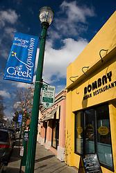 Shops along Main Street, Walnut Creek, Contra Costa County, California, USA.