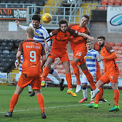 Thomas O'Ware (Morton) scores during the Scottish Championship match between Dundee United and Greenock Morton at Tannadice.<br /> <br /> (c) Dave Johnston | sportPix.org.uk