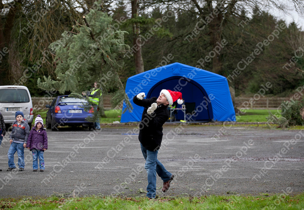 07.01.12<br /> The inaugural Irish Christmas Tree Throwing Championship took place on the grounds of OUr Lady's Hospital Gort Road, Ennis, Co Clare. All proceeds raised will go toward the development of a new Clare County Dog Shelter. Competing in the event was Robby Ball.<br /> <br /> Pic. Alan Place / Press 22