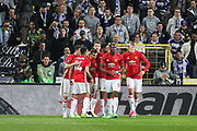 Henrikh Mkhitaryan Midfielder of Manchester United celebrates his goal 0-1 with team mates Paul Pogba Midfielder of Manchester United and Zlatan Ibrahimovic Forward of Manchester United during the UEFA Europa League Quarter-final, Game 1 match between Anderlecht and Manchester United at Constant Vanden Stock Stadium, Anderlecht, Belgium on 13 April 2017. Photo by Phil Duncan.