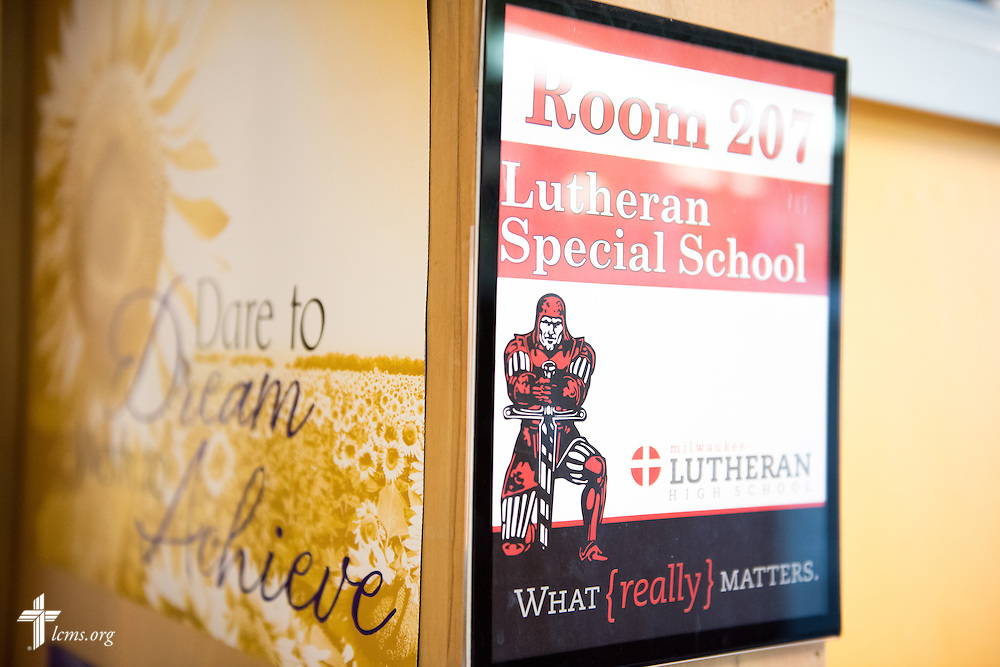 A classroom sign greets visitors and students at Lutheran Special School & Education Services, located in Milwaukee Lutheran High School, on Tuesday, May 19, 2015, in Milwaukee, Wis. LCMS Communications/Erik M. Lunsford