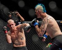 Pietie Coxen vs. Cameron Pritchard. Fight 2 at EFC Worldwide 36, Welterweight, The Dome, Northgate, Johannesburg. <br /> (Photo by Anton Geyser / EFC Worldwide 2014)
