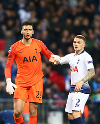 November 6, 2018 - London, England, United Kingdom - London, England - November 06, 2018.L-R Tottenham Hotspur's Paulo Gazzaniga andTottenham Hotspur's Kieran Tripper during Champion League Group B between Tottenham Hotspur and PSV Eindhoven at Wembley stadium , London, England on 06 Nov 2018. (Credit Image: © Action Foto Sport/NurPhoto via ZUMA Press)