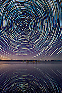 Star trails reflected in Mono Lake - Mono Lake Tufa State Natural Reserve