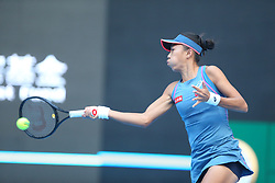 BEIJING, Oct. 3, 2018  Zhang Shuai of China hits a return during the women's singles second round match against Timea Babos of Hungary at China Open tennis tournament in Beijing, China, Oct. 3, 2018. Zhang Shuai won 2-0. (Credit Image: © Song Yanhua/Xinhua via ZUMA Wire)
