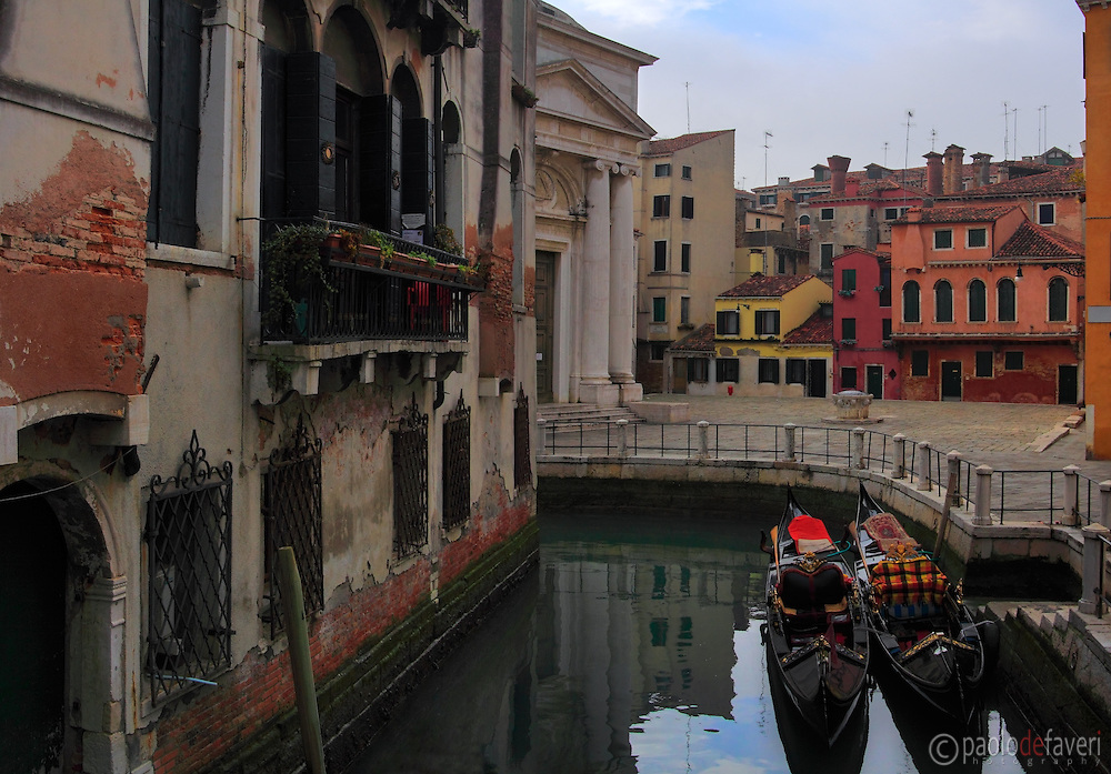 "Campo della Maddalena is a small square in the ""sestiere"" of Cannaregio, one of the six districts of Venice. Taken on an overcast afternoon of mid January. This is stitched from five vertical frames."