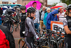 Riders of Velocio - Sram with Lisa Brennauer and Trixi Worrack waiting for the sign-on at the Holland Ladies Tour, Zeddam, Gelderland, The Netherlands, 1 September 2015.<br /> Photo: Pim Nijland / PelotonPhotos.com