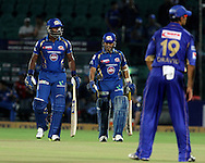Mumbai Indian player Dwayne Smith and Mumbai Indian player Sachin Tendulkar during match 1 of the Karbonn Smart Champions League T20 (CLT20) 2013  between The Rajasthan Royals and the Mumbai Indians held at the Sawai Mansingh Stadium in Jaipur on the 21st September 2013<br /> <br /> Photo by Vipin Pawar-CLT20-SPORTZPICS <br /> <br /> Use of this image is subject to the terms and conditions as outlined by the CLT20. These terms can be found by following this link:<br /> <br /> http://sportzpics.photoshelter.com/image/I0000NmDchxxGVv4