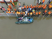 BIJIE, CHINA - JUNE 28: <br /> <br /> Aerial view of rescue work in the flood caused by heavy rain in Zhijin County on June 28, 2016 in Bijie, Guizhou Province of China. Over 10 hours continuous heavy rain caused 2 people died, 1 still missing and the direct economic loss of 115.62 million yuan (about 17.39 million USD) till Tuesday in Zhijin County, Guizhou Province. <br /> ©Exclusivepix Media
