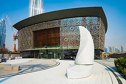 Exterior view of new Dubai Opera House in Downtown Dubai, UAE, United Arab Emirates.