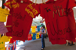 Clothesline Project at PLU on Tuesday, April 19, 2016. (Photo: John Froschauer/PLU)