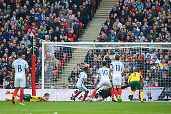 LONDON, ENGLAND - Sunday, March 26, 2017: England's Jermain Defoe scores the first goal against Lithuania during the 2018 FIFA World Cup Qualifying Group F match at Wembley Stadium. (Pic by Lexie Lin/Propaganda)