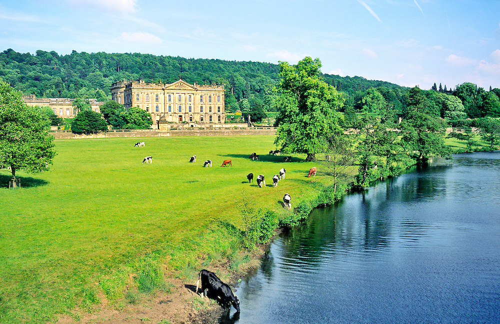 Chatsworth House near Bakewell in the Peak District National Park, Derbyshire, England. Home of the Dukes of Devonshire.