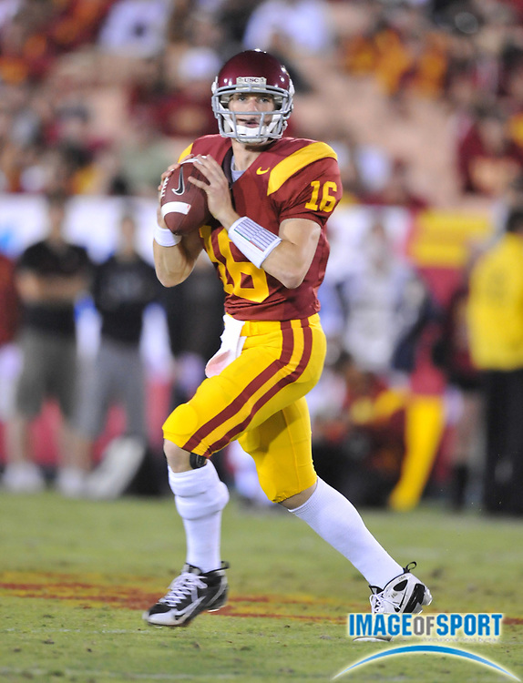 Nov 1, 2008; Los Angeles, CA, USA; Southern California Trojans quarterback Mitch Mustain (16) throws a pass during 56-0 victory over the Washington Huskies at the Los Angeles Memorial Coliseum.