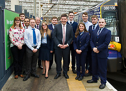 Pictured: Jamie Hepburn met with young apprentices working with Scotrail to hear their experiences<br /> Minister for Employability and Training Jamie Hepburn launched a &pound;10 million Flexible Workforce Development Fund which will partner industry with colleges to deliver in-work skills training during a visit to Waverlety Station in Edinburgh today. Mr Hepburn met to meet ScotRail staff who have undertaken in-work training to further their careers along with represenatatives from the Further Education sector.<br /> <br /> <br /> Ger Harley | EEm 7 September 2017