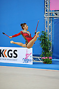 Filiou Varvara during qualifying at clubs in Pesaro World Cup 27 April 2013. Varvara, born on 29 December 1994 in Maurosi,Greece. She is the most famous and awarded Greek athlete of this sport. Varvara is an 8 time Greek National All-around Champion.