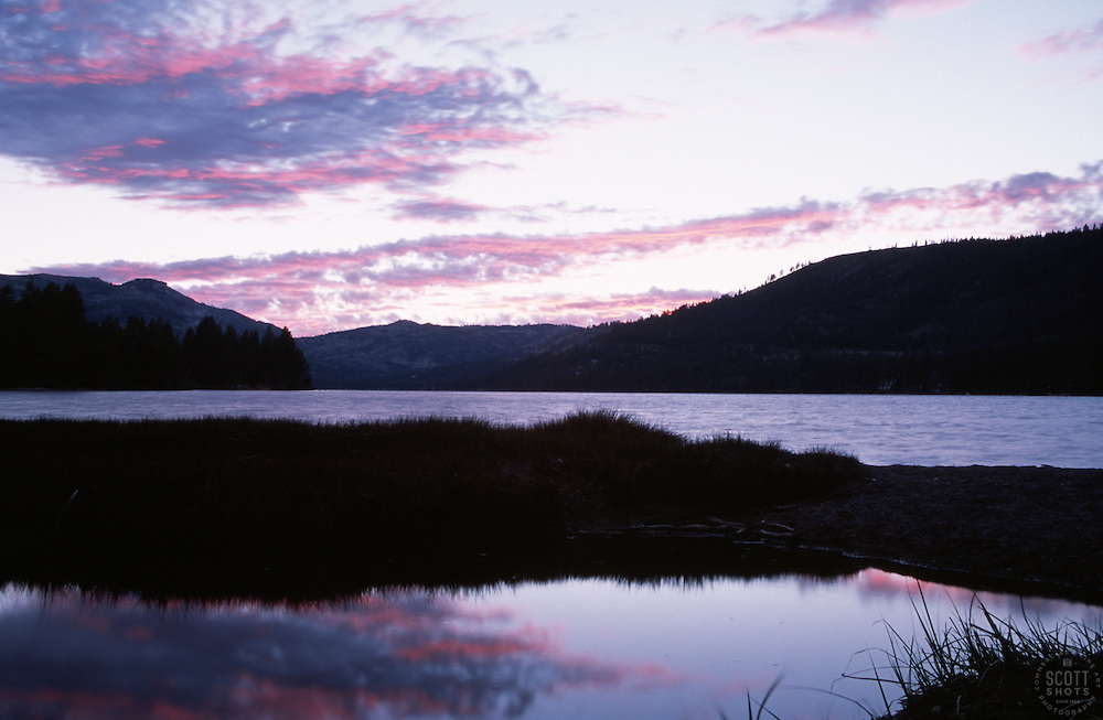 &quot;Donner Lake Sunset 1&quot;- Photographed from the east end of Donner Lake, facing west.<br /> Photographed: April 2003