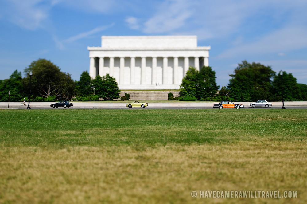 Lincoln Memorial tilt-shift. NB: This is using tilt-shift photographic technique and has a very narrow field of focus.