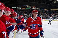 KELOWNA, CANADA - MARCH 13: Jack Finley #26 of the Spokane Chiefs celebrates a second period goal against the Kelowna Rockets on March 13, 2019 at Prospera Place in Kelowna, British Columbia, Canada.  (Photo by Marissa Baecker/Shoot the Breeze)