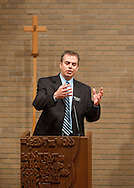 Waldorf College President-elect Bob Alsop talks to prospective students and their parents during an open house at Waldorf College in Forest City, Iowa on Saturday, May 14, 2011.