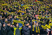 Borussia Dortmund fans at the start of the game during the Champions League round of 16, leg 2 of 2 match between Borussia Dortmund and Tottenham Hotspur at Signal Iduna Park, Dortmund, Germany on 5 March 2019.