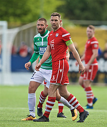 RHOSYMEDRE, WALES - Sunday, May 5, 2019: The New Saints' Greg Draper (L) and Connah's Quay Nomads's George Horan during the FAW JD Welsh Cup Final between Connah's Quay Nomads FC and The New Saints FC at The Rock. (Pic by David Rawcliffe/Propaganda)