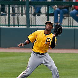Mar 1, 2013; Sarasota, FL, USA; Pittsburgh Pirates left fielder Starling Marte (6) catches a fly ball against the Baltimore Orioles during the bottom of the second inning of a spring training game at Ed Smith Stadium. Mandatory Credit: Derick E. Hingle-USA TODAY Sports