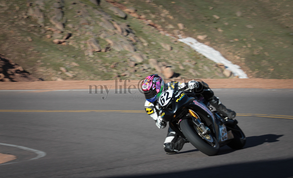 Motorcycle practice for the 2014 Pikes Peak International Hill Climb.  Photo By Charles Beets