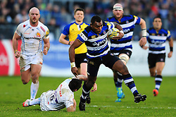 Semesa Rokoduguni of Bath Rugby takes on the Exeter Chiefs defence - Mandatory byline: Patrick Khachfe/JMP - 07966 386802 - 31/12/2016 - RUGBY UNION - The Recreation Ground - Bath, England - Bath Rugby v Exeter Chiefs - Aviva Premiership.