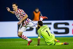 Orestis Karnezis of Greece and Nikola Kalinic of Croatia during the football match between National teams of Croatia and Greece in First leg of Playoff Round of European Qualifiers for the FIFA World Cup Russia 2018, on November 9, 2017 in Stadion Maksimir, Zagreb, Croatia. Photo by Ziga Zupan / Sportida