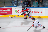 KELOWNA, CANADA - OCTOBER 5:   Jesse Lees #2 of the Kelowna Rockets makes a pass against the Portland Winterhawks at the Kelowna Rockets on October 5, 2013 at Prospera Place in Kelowna, British Columbia, Canada (Photo by Marissa Baecker/Shoot the Breeze) *** Local Caption ***