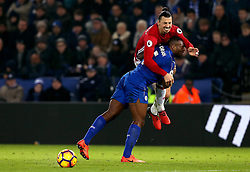 Zlatan Ibrahimovic of Manchester United is blocked by Wes Morgan of Leicester City - Mandatory by-line: Robbie Stephenson/JMP - 05/02/2017 - FOOTBALL - King Power Stadium - Leicester, England - Leicester City v Manchester United - Premier League