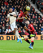 Nathan Ake (5) of AFC Bournemouth heads clear to deny Anthony Martial (9) of Manchester United a chance during the Premier League match between Bournemouth and Manchester United at the Vitality Stadium, Bournemouth, England on 2 November 2019.
