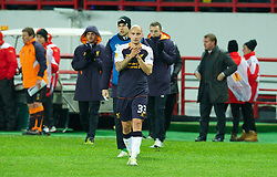 MOSCOW, RUSSIA - Thursday, November 8, 2012: Liverpool's Jonjo Shelvey applauds the travelling supporters after his side's 1-0 defeat to FC Anji Makhachkala during the UEFA Europa League Group A match at the Lokomotiv Stadium. (Pic by David Rawcliffe/Propaganda)