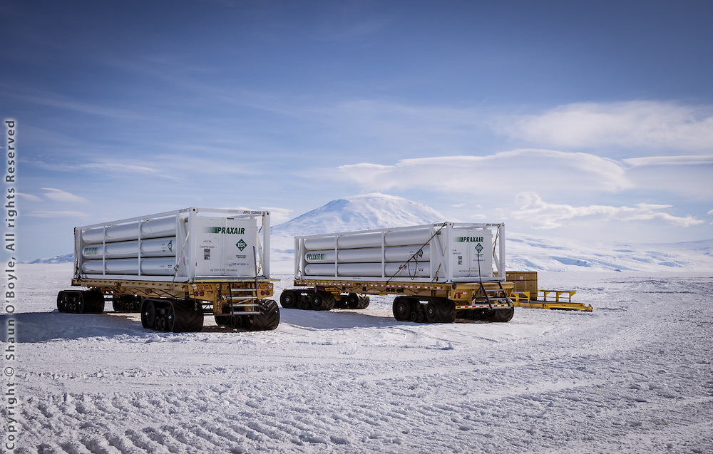 Millions of cubic feet of compressed helium in cylinders used to fill balloons which carry LDB telescopes payloads into the stratosphere to altitudes of 130,000 ft (39,620 M). Mount Erebus in the background.