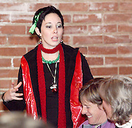 """Krystal Claus (aka Alisha McDarris) during Mayhem & Mystery's production of """"I'll Be Home Shopping for Christmas"""" at the Spaghetti Warehouse in downtown Dayton, Monday, November 9, 2009."""