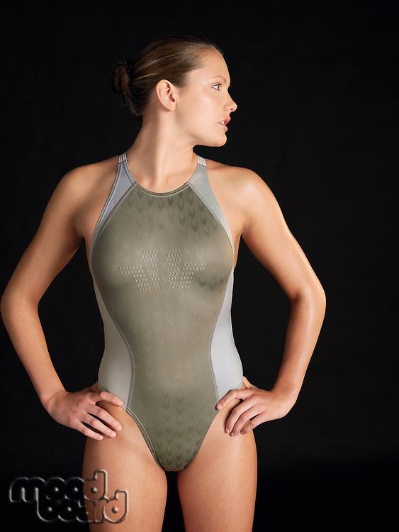 Female swimmer standing