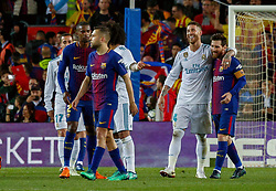 BARCELONA, May 7, 2018  FC Barcelona's Lionel Messi (1st R) and Real Madrid's Sergio Ramos (2nd R) walk off the field after a Spanish league match between FC Barcelona and Real Madrid in Barcelona, Spain, on May 6, 2018. The match ended 2-2. (Credit Image: © Joan Gosa/Xinhua via ZUMA Wire)